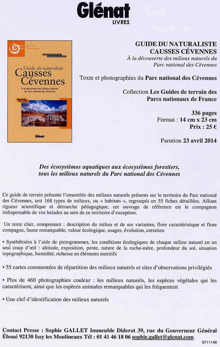 Guide du naturaliste Causses Cévennes (23 avril 2014)