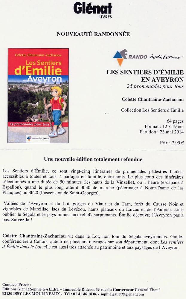 Les sentiers d'Emili en Aveyron (Glénat 23 mai 2014)